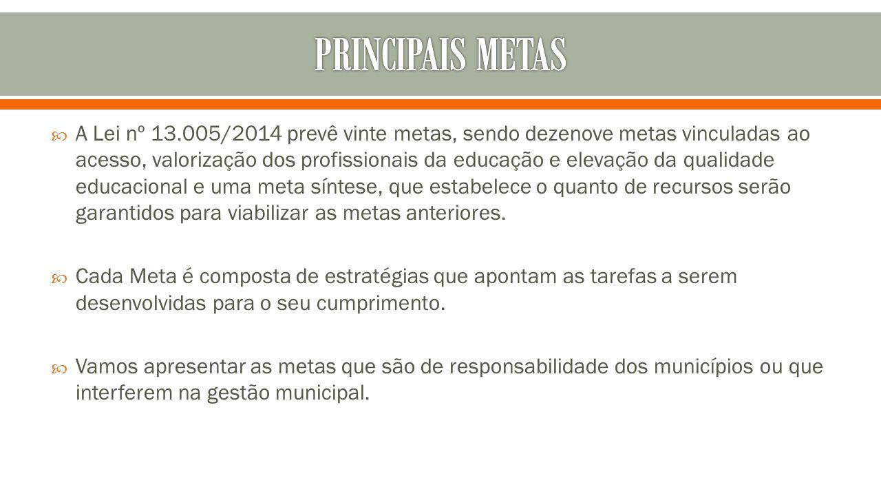  A Lei nº 13.005/2014 prevê vinte metas, sendo dezenove metas vinculadas ao acesso, valorização dos profissionais da educação e elevação da qualidade