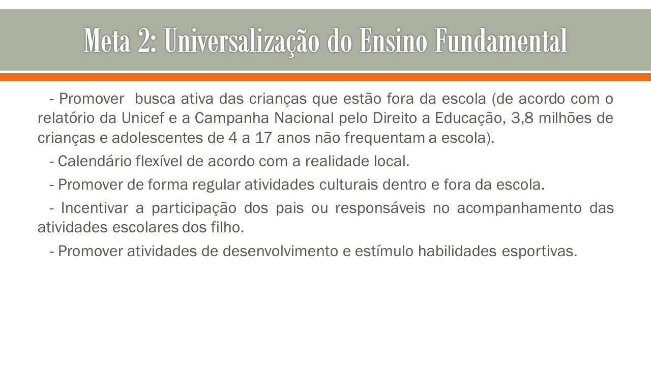 - Promover busca ativa das crianças que estão fora da escola (de acordo com o relatório da Unicef e a Campanha Nacional pelo Direito a Educação, 3,8 m