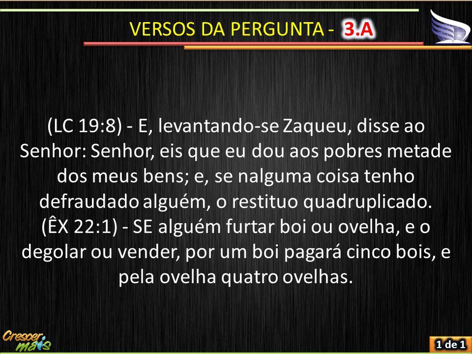 (LC 19:8) - E, levantando-se Zaqueu, disse ao Senhor: Senhor, eis que eu dou aos pobres metade dos meus bens; e, se nalguma coisa tenho defraudado alg