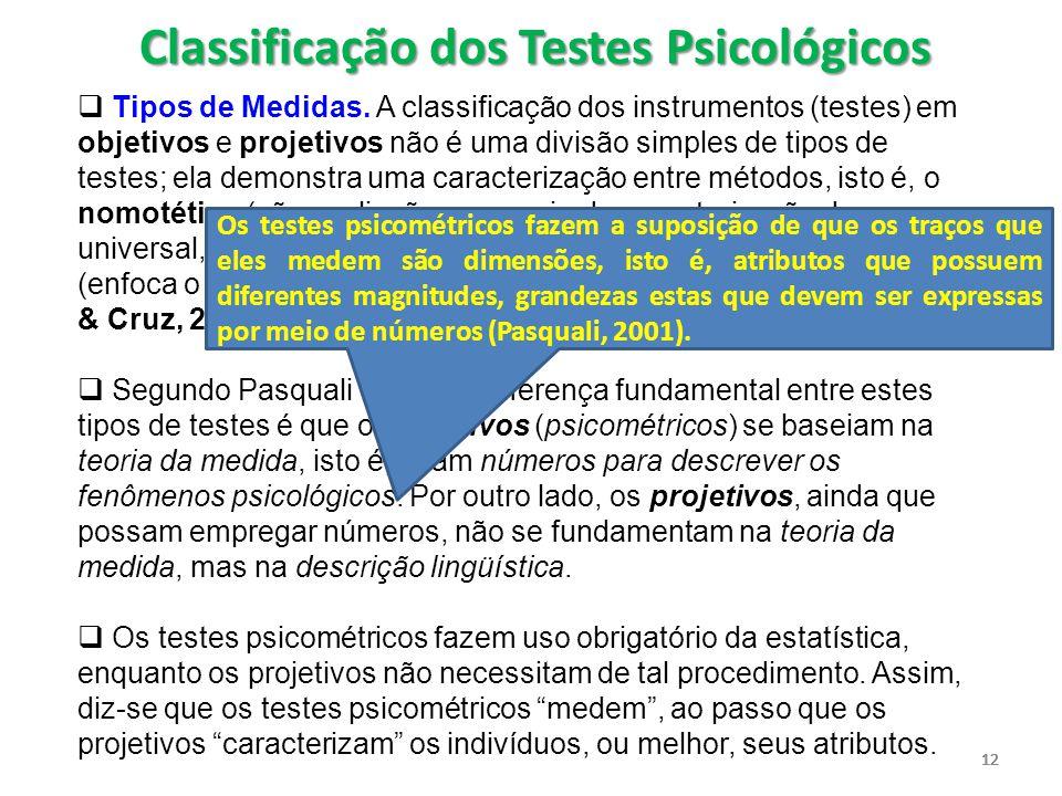 12  Tipos de Medidas. A classificação dos instrumentos (testes) em objetivos e projetivos não é uma divisão simples de tipos de testes; ela demonstra