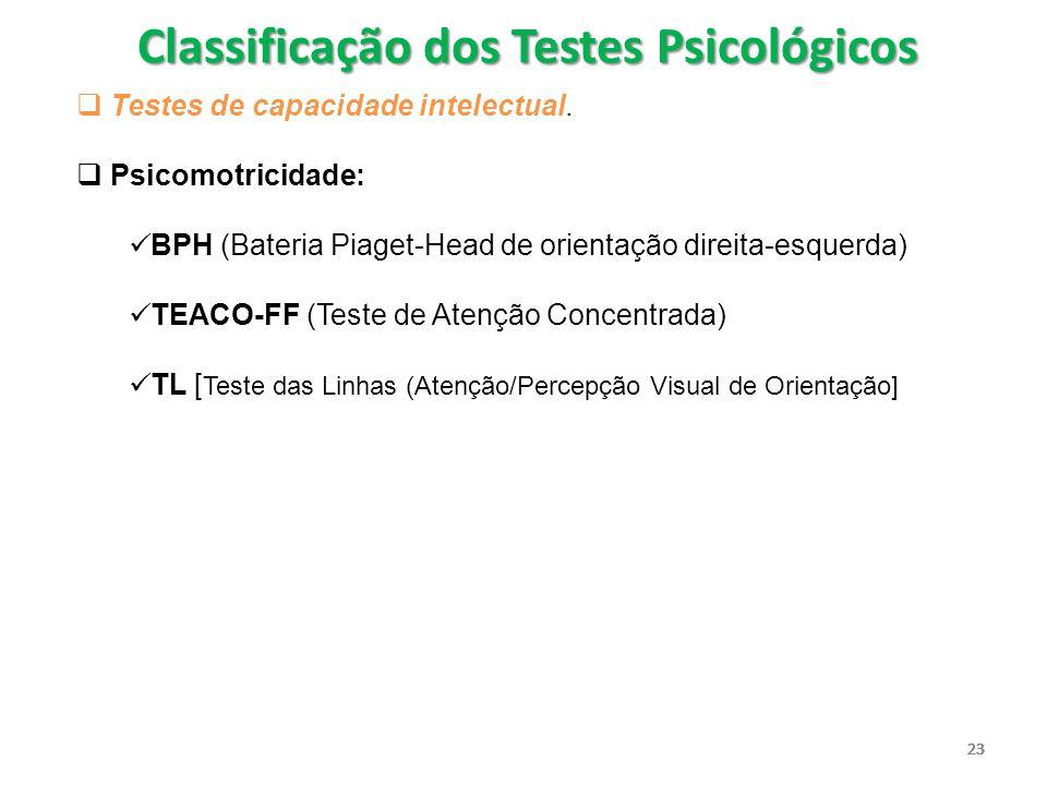 23  Testes de capacidade intelectual.  Psicomotricidade: BPH (Bateria Piaget-Head de orientação direita-esquerda) TEACO-FF (Teste de Atenção Concent