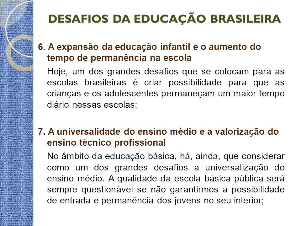 DESAFIOS DA EDUCAÇÃO BRASILEIRA 6. A expansão da educação infantil e o aumento do tempo de permanência na escola Hoje, um dos grandes desafios que se