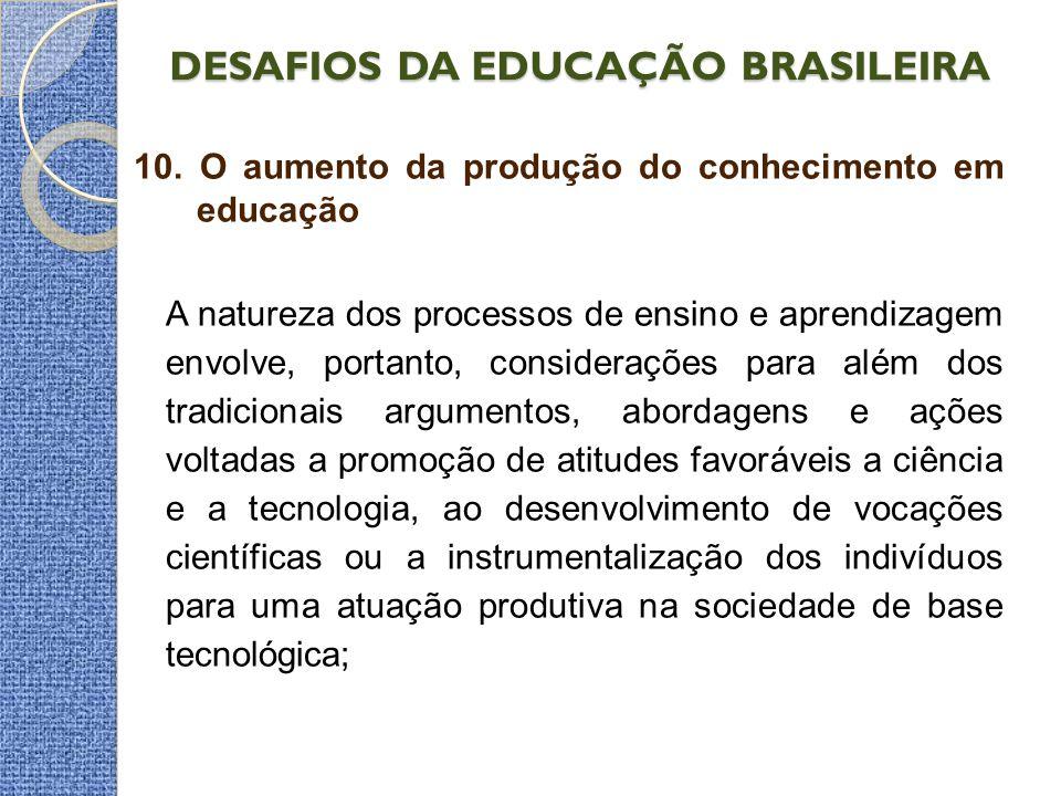 DESAFIOS DA EDUCAÇÃO BRASILEIRA 10. O aumento da produção do conhecimento em educação A natureza dos processos de ensino e aprendizagem envolve, porta