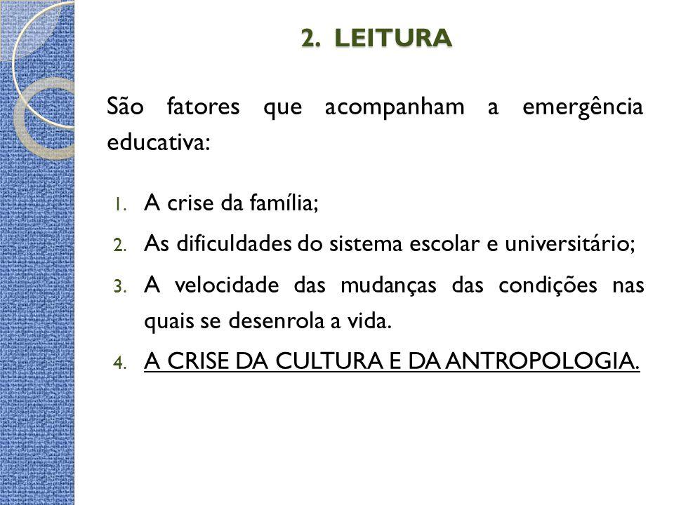 2. LEITURA 2. LEITURA São fatores que acompanham a emergência educativa: 1. A crise da família; 2. As dificuldades do sistema escolar e universitário;