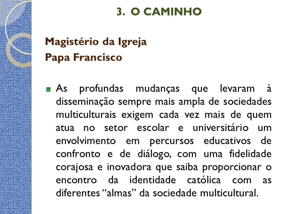 3. O CAMINHO 3. O CAMINHO Magistério da Igreja Papa Francisco As profundas mudanças que levaram à disseminação sempre mais ampla de sociedades multicu