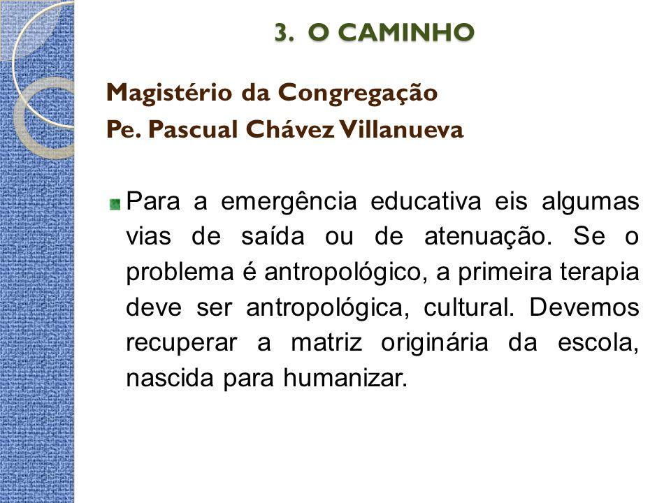 3. O CAMINHO 3. O CAMINHO Magistério da Congregação Pe. Pascual Chávez Villanueva Para a emergência educativa eis algumas vias de saída ou de atenuaçã