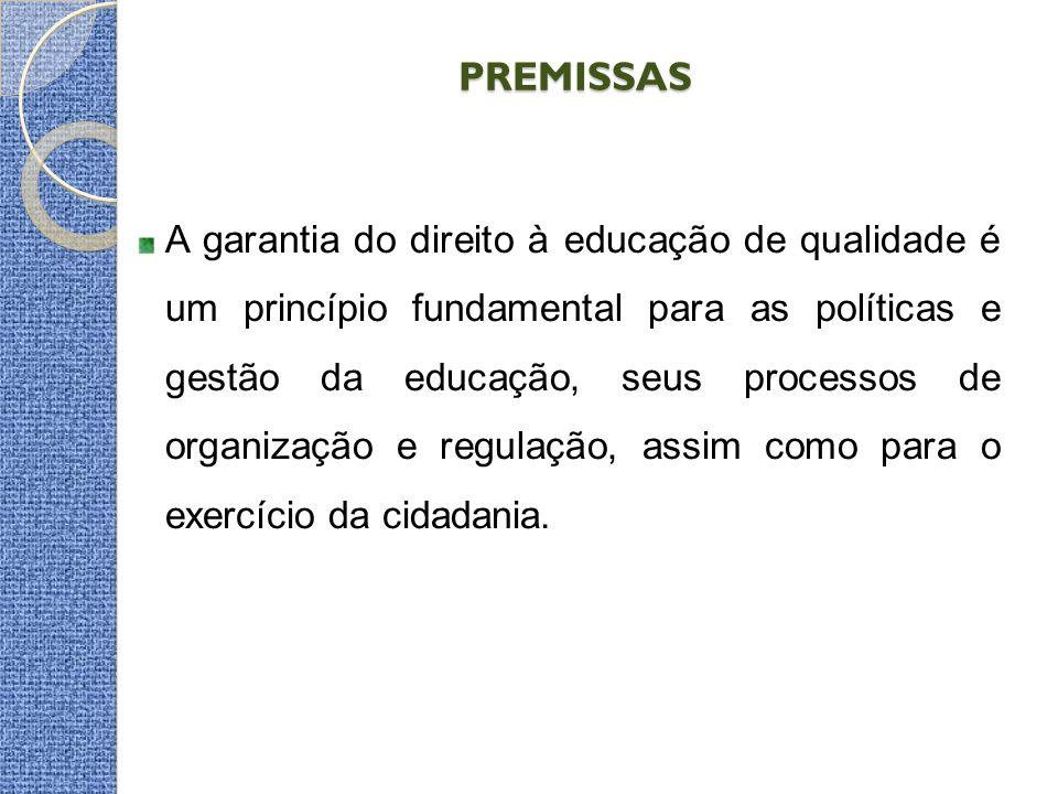PREMISSAS A garantia do direito à educação de qualidade é um princípio fundamental para as políticas e gestão da educação, seus processos de organização e regulação, assim como para o exercício da cidadania.
