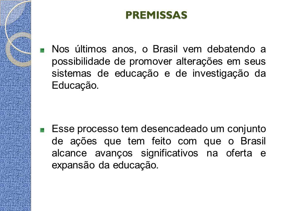 PREMISSAS PREMISSAS Nos últimos anos, o Brasil vem debatendo a possibilidade de promover alterações em seus sistemas de educação e de investigação da Educação.