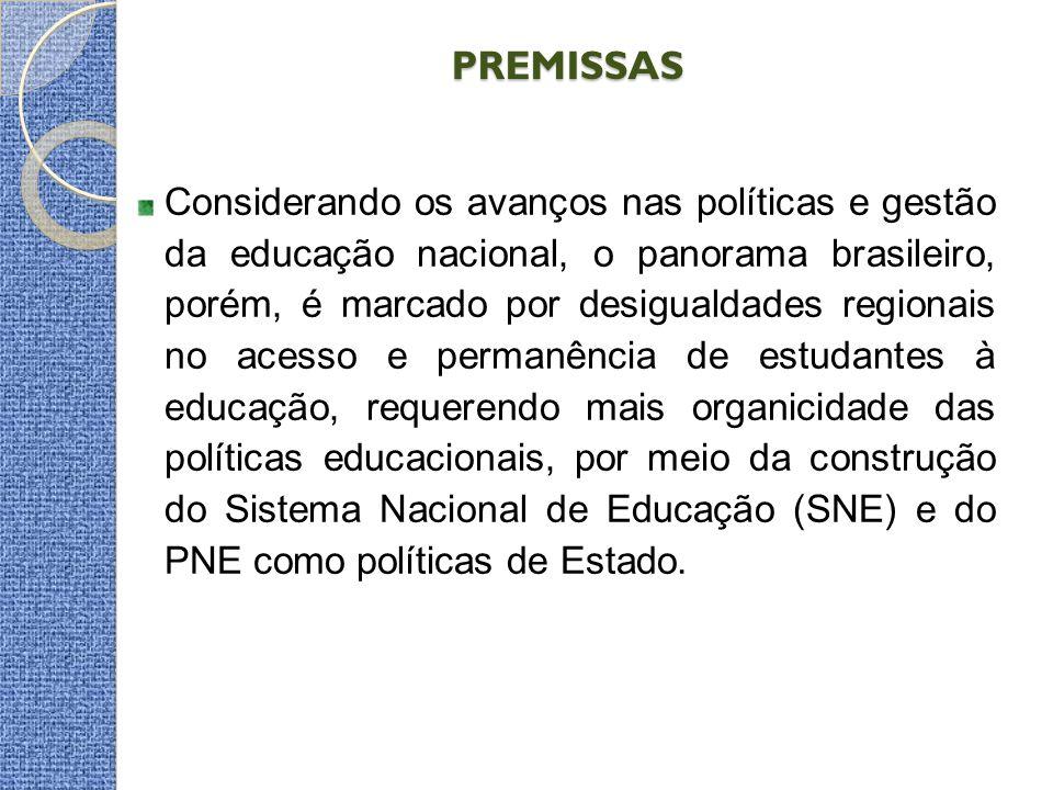 PREMISSAS Considerando os avanços nas políticas e gestão da educação nacional, o panorama brasileiro, porém, é marcado por desigualdades regionais no acesso e permanência de estudantes à educação, requerendo mais organicidade das políticas educacionais, por meio da construção do Sistema Nacional de Educação (SNE) e do PNE como políticas de Estado.