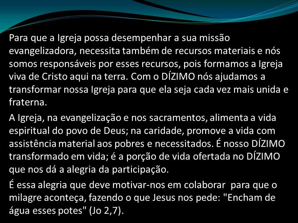 Para que a Igreja possa desempenhar a sua missão evangelizadora, necessita também de recursos materiais e nós somos responsáveis por esses recursos, p