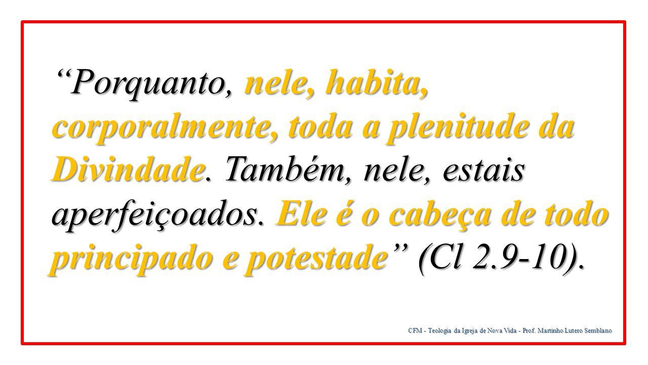 """CFM - Teologia da Igreja de Nova Vida - Prof. Martinho Lutero Semblano """"Porquanto, nele, habita, corporalmente, toda a plenitude da Divindade. Também,"""