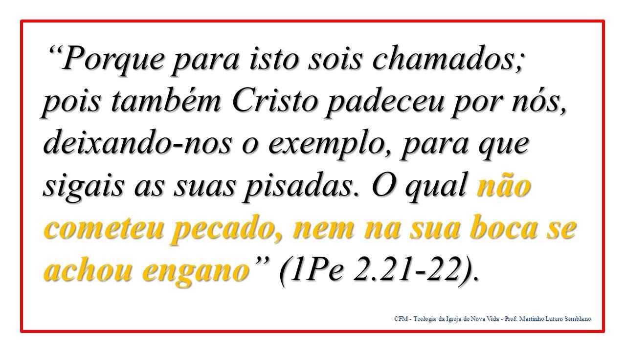 """CFM - Teologia da Igreja de Nova Vida - Prof. Martinho Lutero Semblano """"Porque para isto sois chamados; pois também Cristo padeceu por nós, deixando-n"""