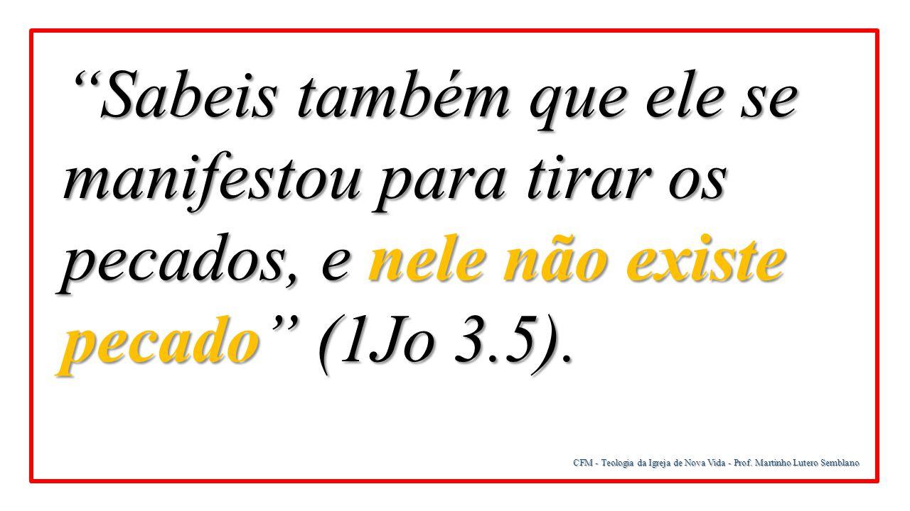 """CFM - Teologia da Igreja de Nova Vida - Prof. Martinho Lutero Semblano """"Sabeis também que ele se manifestou para tirar os pecados, e nele não existe p"""