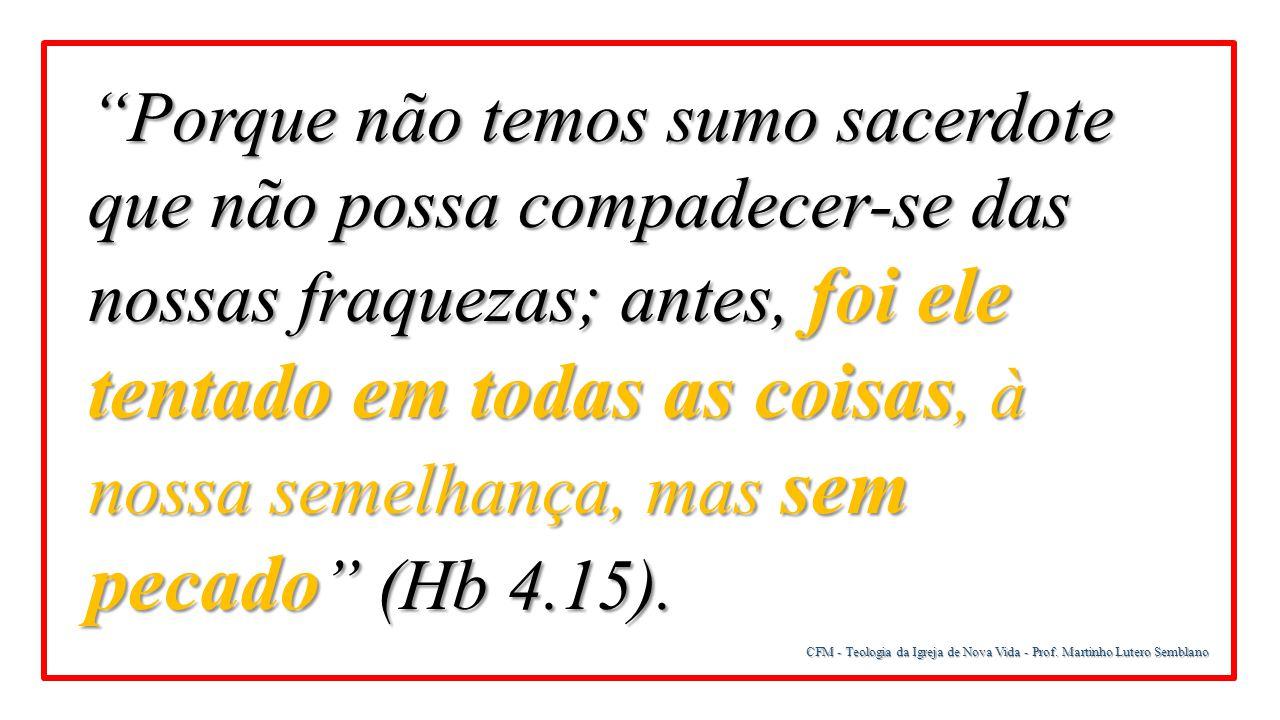 """CFM - Teologia da Igreja de Nova Vida - Prof. Martinho Lutero Semblano """"Porque não temos sumo sacerdote que não possa compadecer-se das nossas fraquez"""