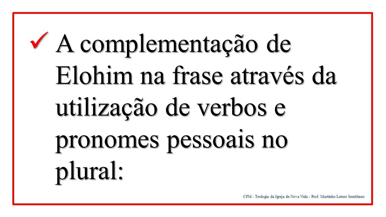 CFM - Teologia da Igreja de Nova Vida - Prof. Martinho Lutero Semblano A complementação de Elohim na frase através da utilização de verbos e pronomes