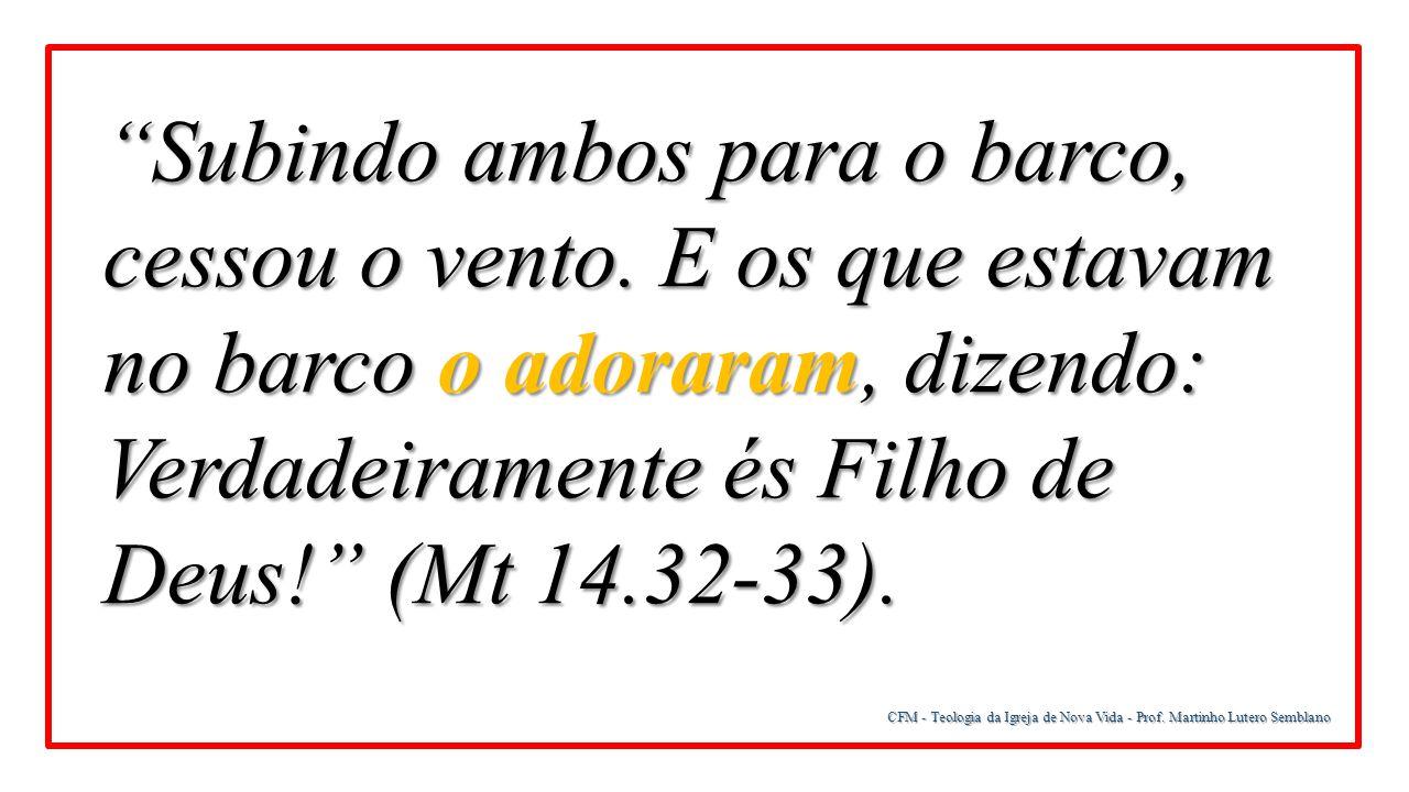 """CFM - Teologia da Igreja de Nova Vida - Prof. Martinho Lutero Semblano """"Subindo ambos para o barco, cessou o vento. E os que estavam no barco o adorar"""