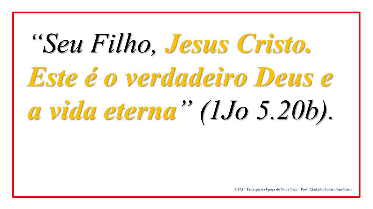 """CFM - Teologia da Igreja de Nova Vida - Prof. Martinho Lutero Semblano """"Seu Filho, Jesus Cristo. Este é o verdadeiro Deus e a vida eterna"""" (1Jo 5.20b)"""