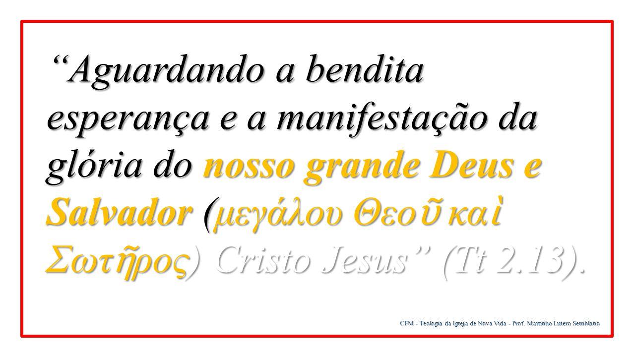 """CFM - Teologia da Igreja de Nova Vida - Prof. Martinho Lutero Semblano """"Aguardando a bendita esperança e a manifestação da glória do nosso grande Deus"""