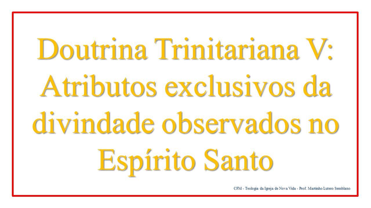 CFM - Teologia da Igreja de Nova Vida - Prof. Martinho Lutero Semblano Doutrina Trinitariana V: Atributos exclusivos da divindade observados no Espíri