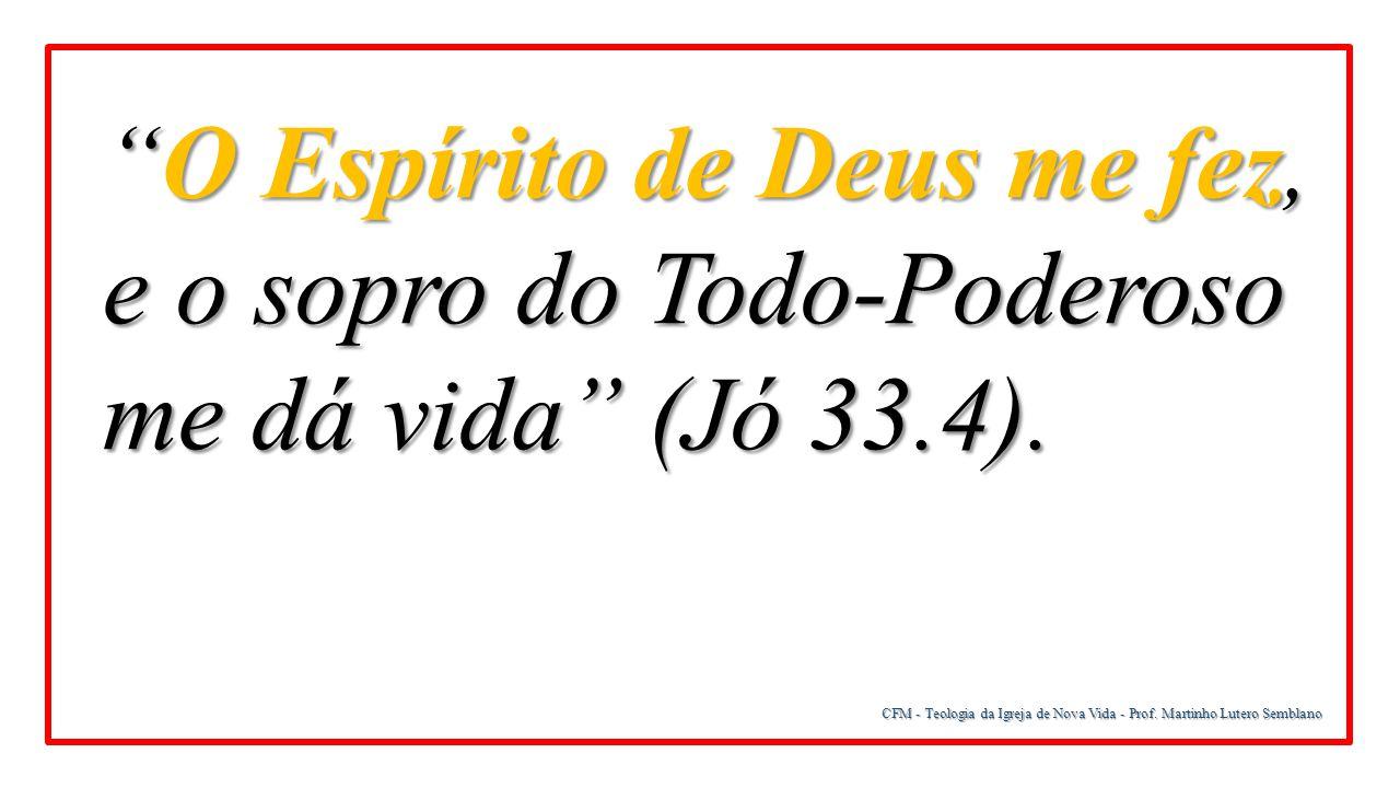 """CFM - Teologia da Igreja de Nova Vida - Prof. Martinho Lutero Semblano """"O Espírito de Deus me fez, e o sopro do Todo-Poderoso me dá vida"""" (Jó 33.4)."""