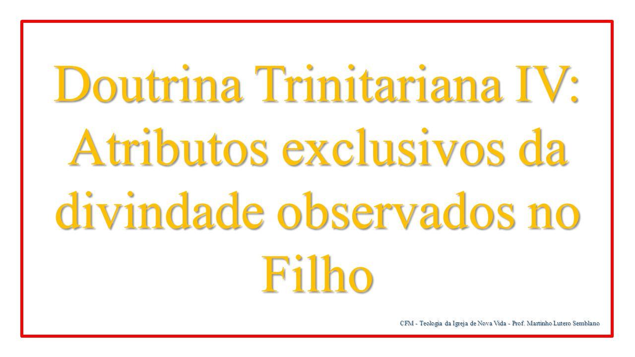 CFM - Teologia da Igreja de Nova Vida - Prof. Martinho Lutero Semblano Doutrina Trinitariana IV: Atributos exclusivos da divindade observados no Filho