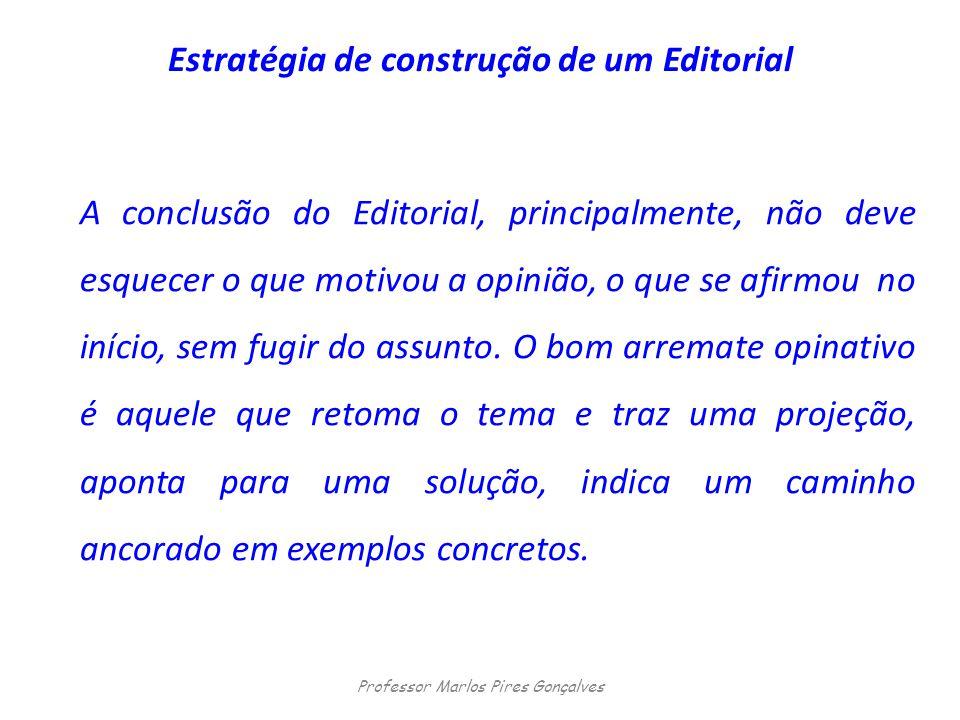 Estratégia de construção de um Editorial A conclusão do Editorial, principalmente, não deve esquecer o que motivou a opinião, o que se afirmou no iníc