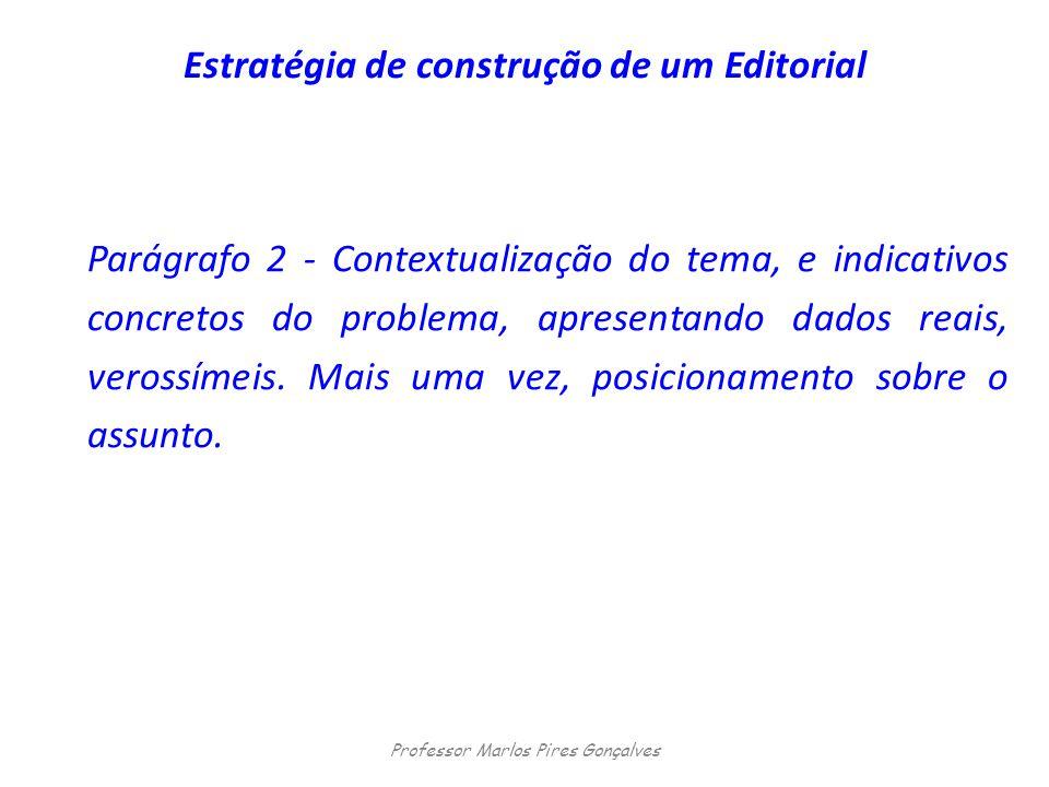 Estratégia de construção de um Editorial Parágrafo 2 - Contextualização do tema, e indicativos concretos do problema, apresentando dados reais, veross