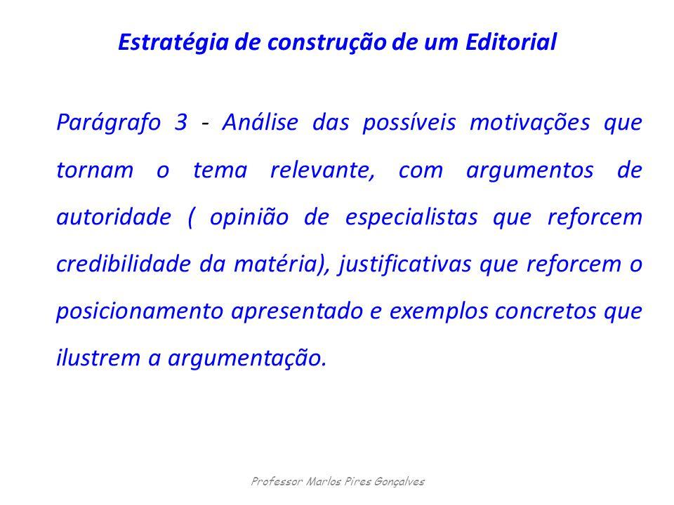 Estratégia de construção de um Editorial Parágrafo 3 - Análise das possíveis motivações que tornam o tema relevante, com argumentos de autoridade ( op