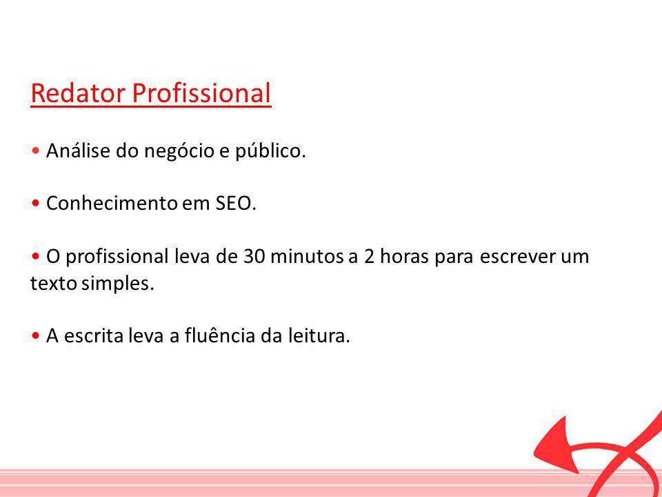 Redator Profissional Análise do negócio e público. Conhecimento em SEO. O profissional leva de 30 minutos a 2 horas para escrever um texto simples. A