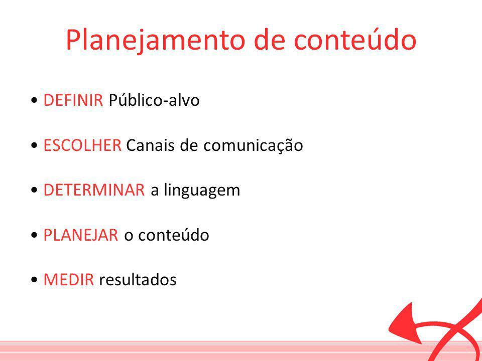 DEFINIR Público-alvo ESCOLHER Canais de comunicação DETERMINAR a linguagem PLANEJAR o conteúdo MEDIR resultados Planejamento de conteúdo