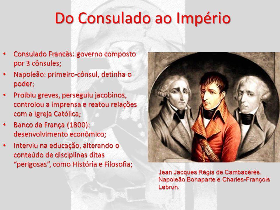 Do Consulado ao Império Consulado Francês: governo composto por 3 cônsules; Consulado Francês: governo composto por 3 cônsules; Napoleão: primeiro-côn