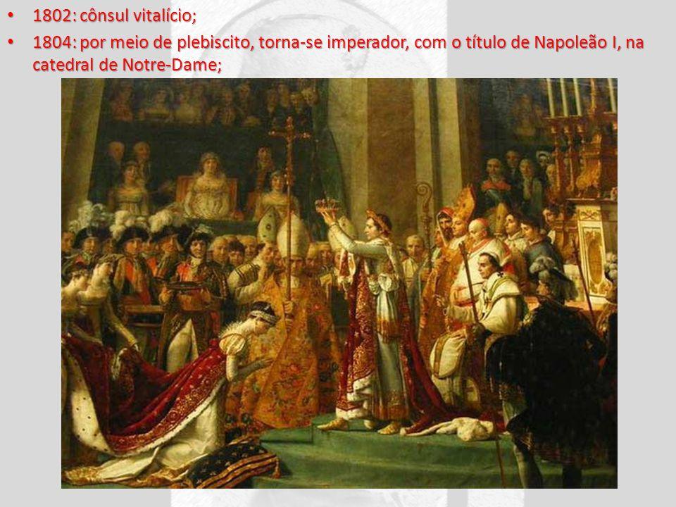 1802: cônsul vitalício; 1802: cônsul vitalício; 1804: por meio de plebiscito, torna-se imperador, com o título de Napoleão I, na catedral de Notre-Dam