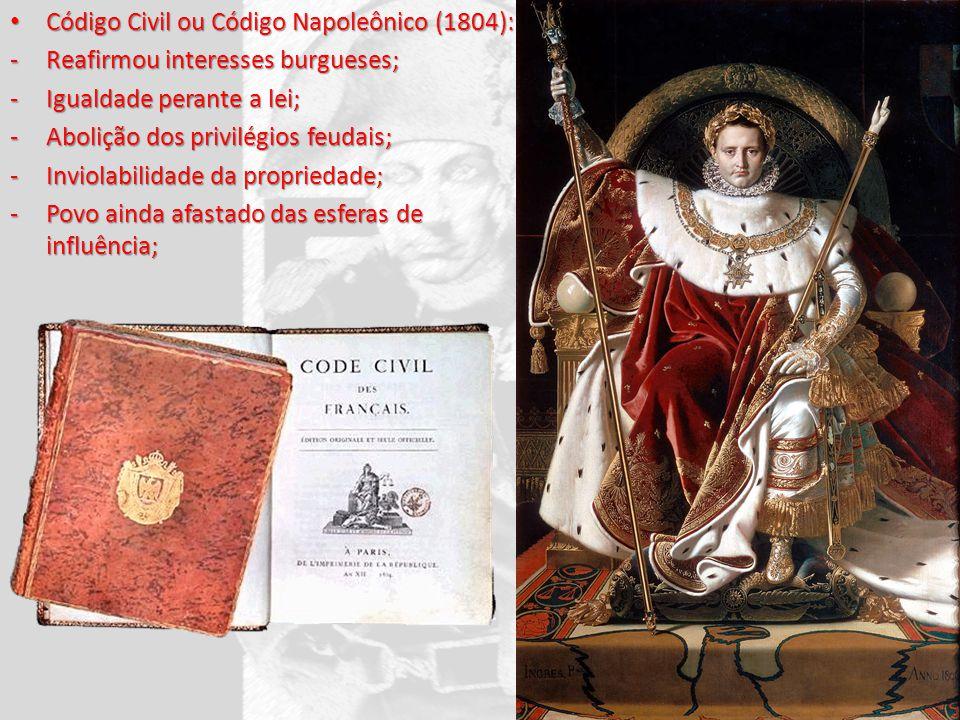 Código Civil ou Código Napoleônico (1804): Código Civil ou Código Napoleônico (1804): -Reafirmou interesses burgueses; -Igualdade perante a lei; -Abol