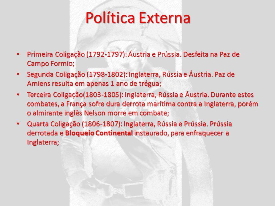 Política Externa Primeira Coligação (1792-1797): Áustria e Prússia. Desfeita na Paz de Campo Formio; Primeira Coligação (1792-1797): Áustria e Prússia
