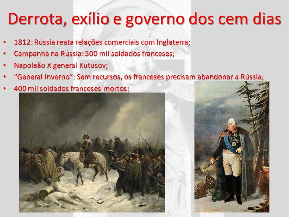 Derrota, exílio e governo dos cem dias 1812: Rússia reata relações comerciais com Inglaterra; 1812: Rússia reata relações comerciais com Inglaterra; C
