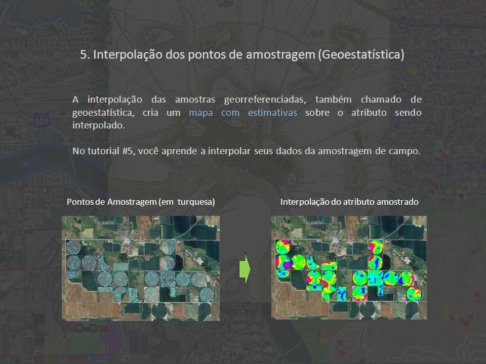 A interpolação das amostras georreferenciadas, também chamado de geoestatística, cria um mapa com estimativas sobre o atributo sendo interpolado.