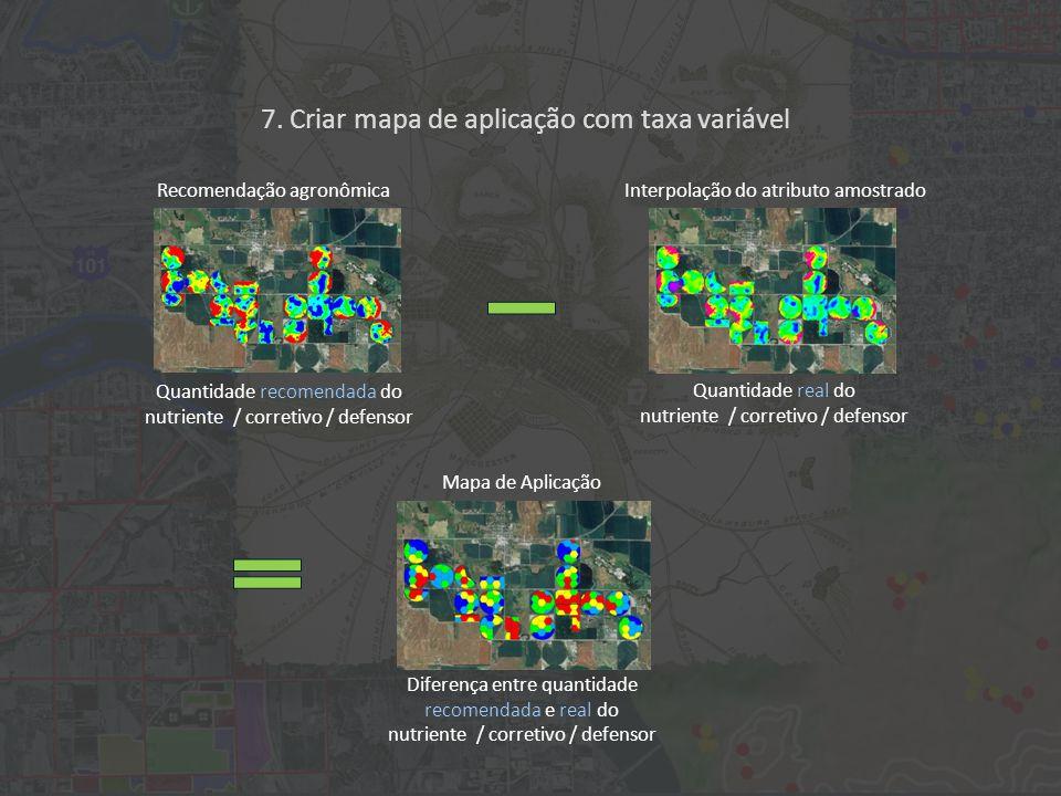 Navegação por satélite (GPS / GLONASS ) O nutriente / corretivo / defensor é aplicado com taxa variável; o sistema de navegação por satélite monitora os locais de aplicação.