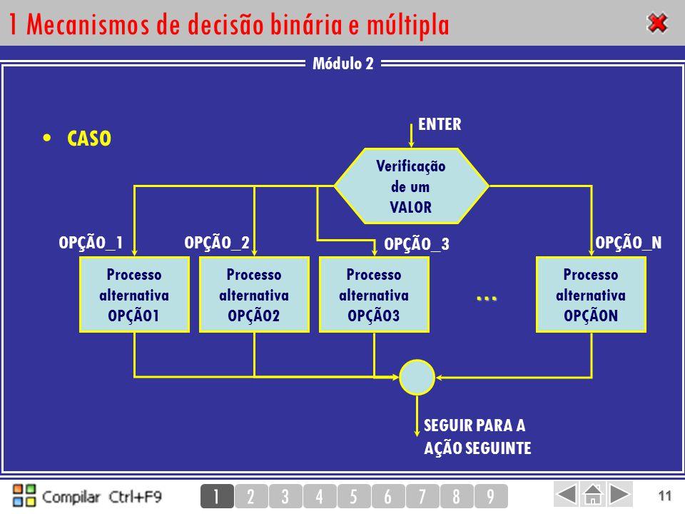 Módulo 2 123456789 11 1 Mecanismos de decisão binária e múltipla CASO 1 Processo alternativa OPÇÃO1 ENTER OPÇÃO_1 SEGUIR PARA A AÇÃO SEGUINTE Verifica