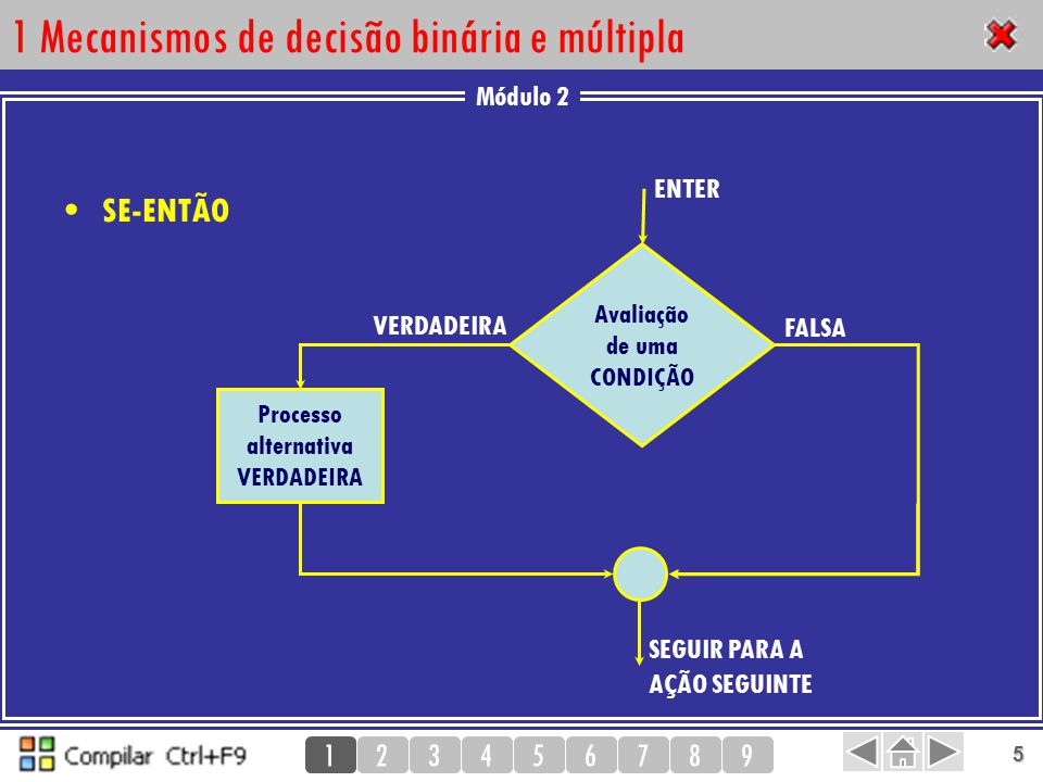 Módulo 2 123456789 5 1 Mecanismos de decisão binária e múltipla SE-ENTÃO 1 Processo alternativa VERDADEIRA VERDADEIRA Avaliação de uma CONDIÇÃO SEGUIR