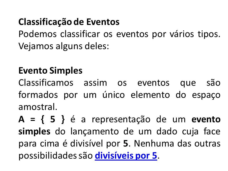 Classificação de Eventos Podemos classificar os eventos por vários tipos. Vejamos alguns deles: Evento Simples Classificamos assim os eventos que são