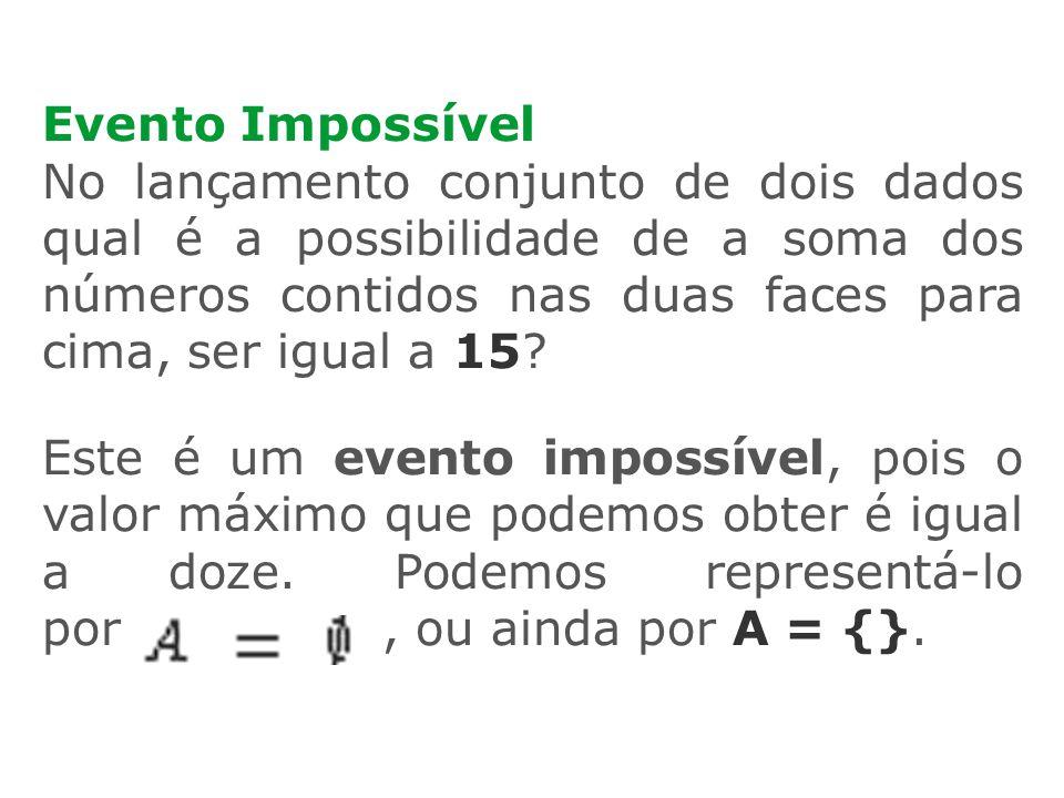 Evento Impossível No lançamento conjunto de dois dados qual é a possibilidade de a soma dos números contidos nas duas faces para cima, ser igual a 15?