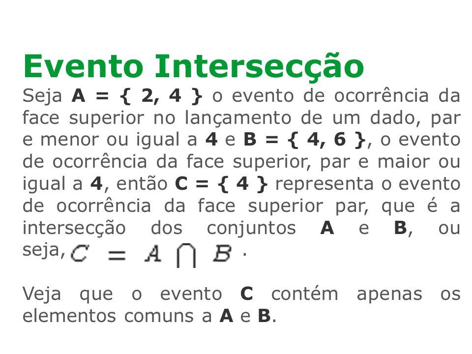 Evento Intersecção Seja A = { 2, 4 } o evento de ocorrência da face superior no lançamento de um dado, par e menor ou igual a 4 e B = { 4, 6 }, o even