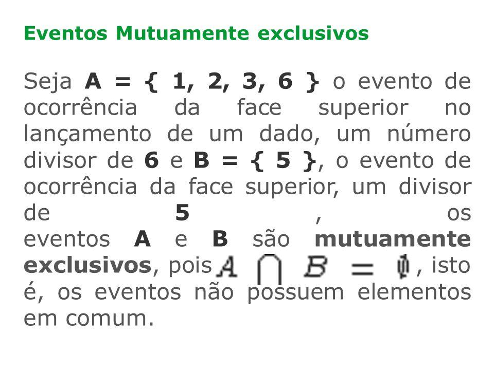 Eventos Mutuamente exclusivos Seja A = { 1, 2, 3, 6 } o evento de ocorrência da face superior no lançamento de um dado, um número divisor de 6 e B = {