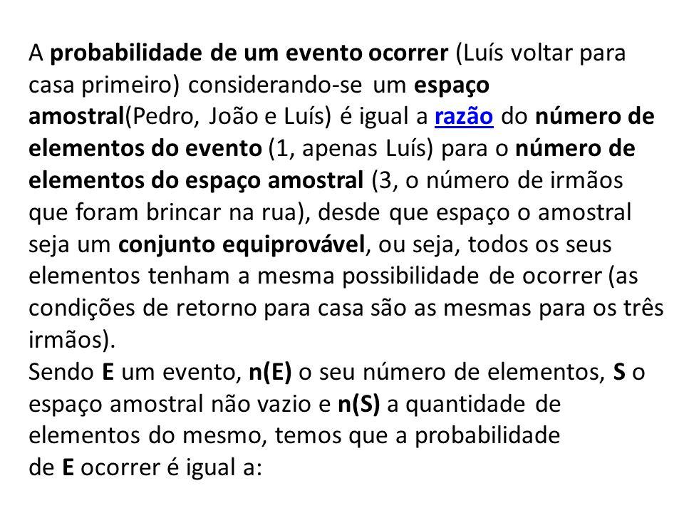 A probabilidade de um evento ocorrer (Luís voltar para casa primeiro) considerando-se um espaço amostral(Pedro, João e Luís) é igual a razão do número