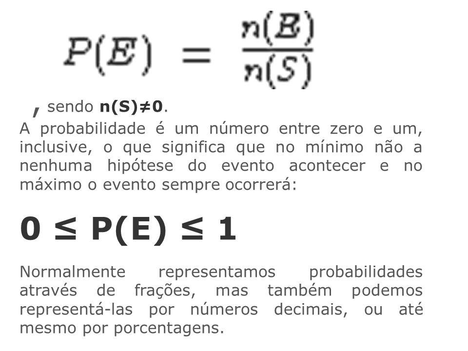 , sendo n(S)≠0. A probabilidade é um número entre zero e um, inclusive, o que significa que no mínimo não a nenhuma hipótese do evento acontecer e no