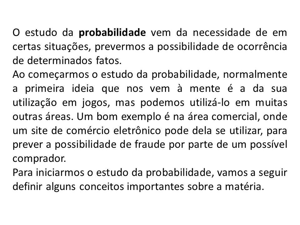 O estudo da probabilidade vem da necessidade de em certas situações, prevermos a possibilidade de ocorrência de determinados fatos. Ao começarmos o es