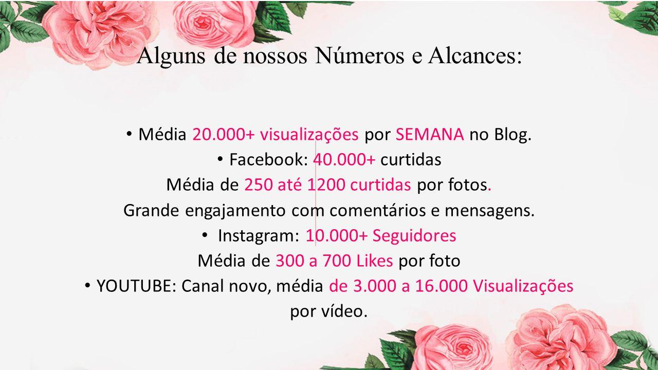 Alguns de nossos Números e Alcances: Média 20.000+ visualizações por SEMANA no Blog. Facebook: 40.000+ curtidas Média de 250 até 1200 curtidas por fot