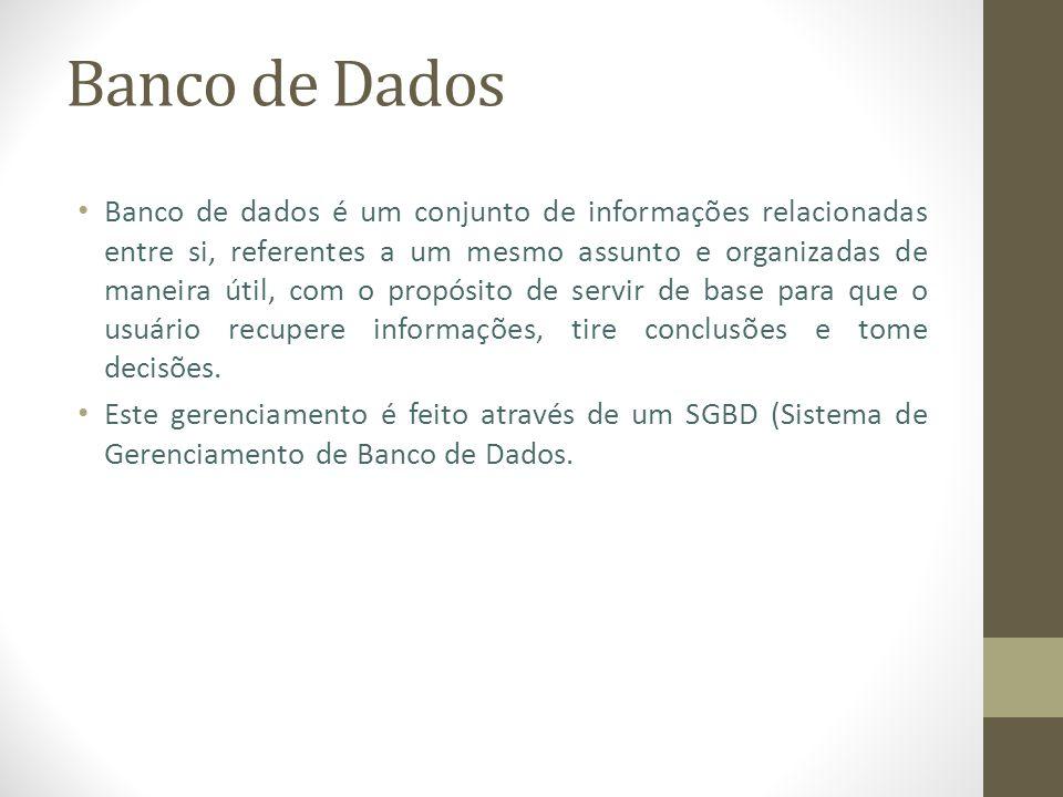 Base de Dados Base de dados é um conjunto de informações, referentes a um mesmo assunto sem haver nenhum tipo de relacionamento.