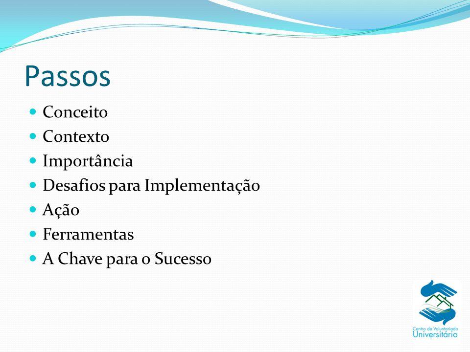 Passos Conceito Contexto Importância Desafios para Implementação Ação Ferramentas A Chave para o Sucesso