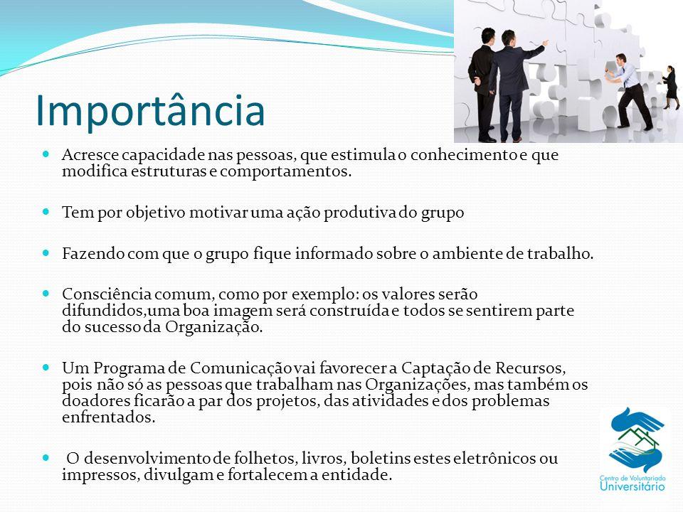 Importância Acresce capacidade nas pessoas, que estimula o conhecimento e que modifica estruturas e comportamentos.